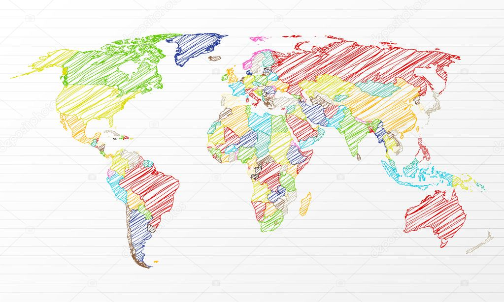 World map drawing pencil sketch stock vector kudryashka 3210374 color drawing political world map gumiabroncs Image collections