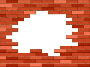 crashed brick wall