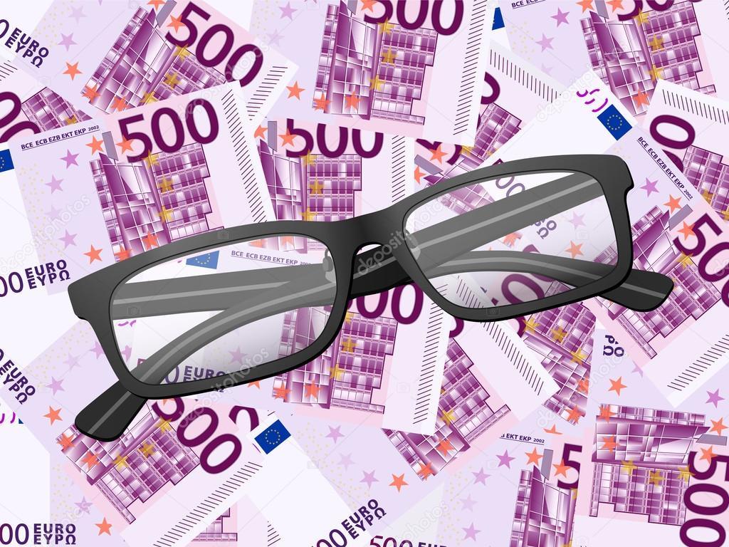 f3418f8258 gafas de lectura sobre fondo de quinientos euros — Vector de stock ...