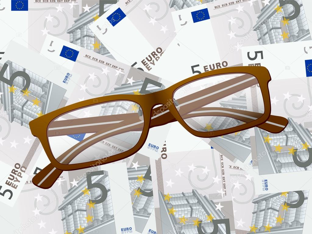 59369e452c Gafas de lectura sobre fondo de 5 euros — Archivo Imágenes Vectoriales
