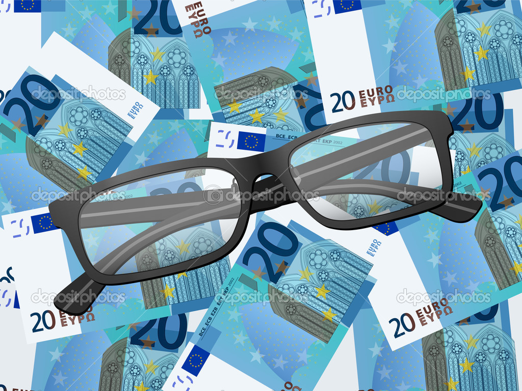 48b8da970e gafas de lectura sobre fondo de veinte euros — Vector de stock ...