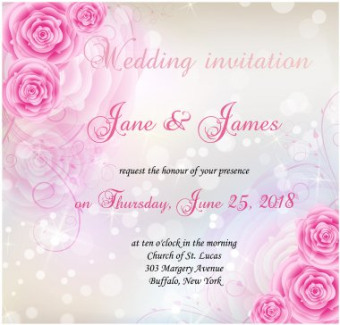 Wedding invitation with roses background