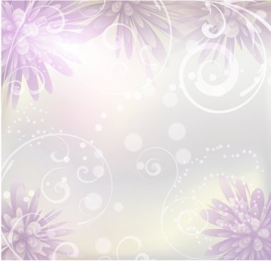 Pastel colored background with purple flowers