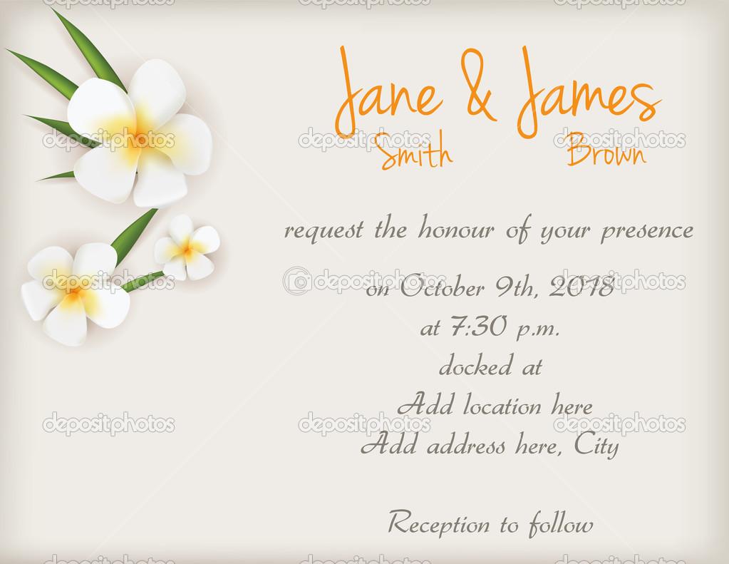 Wedding invitation with plumeria flowers — Stock Vector © artlana ...