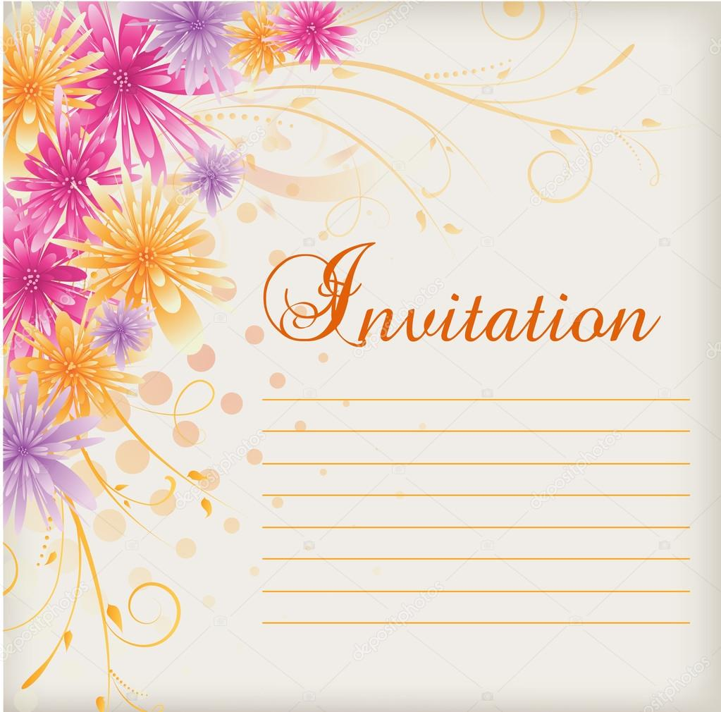 Invitation template blank with multicolored abstract flowers stock invitation template blank with multicolored abstract flowers stock vector stopboris Image collections