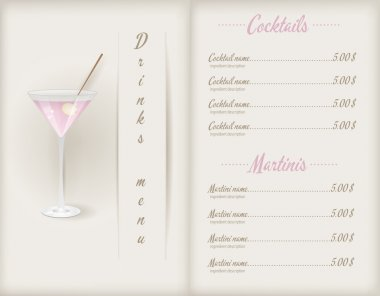 Drink menu template