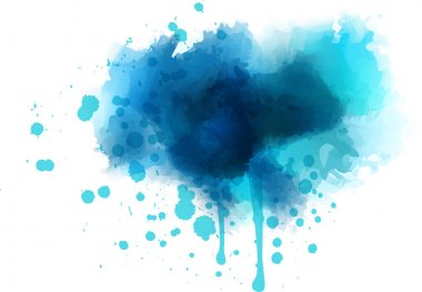 Blue watercolor splash - template for your designs clip art vector