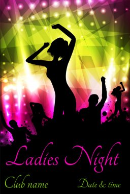 Poster template for disco party with silhouettes of dancing people and grunge elements clip art vector