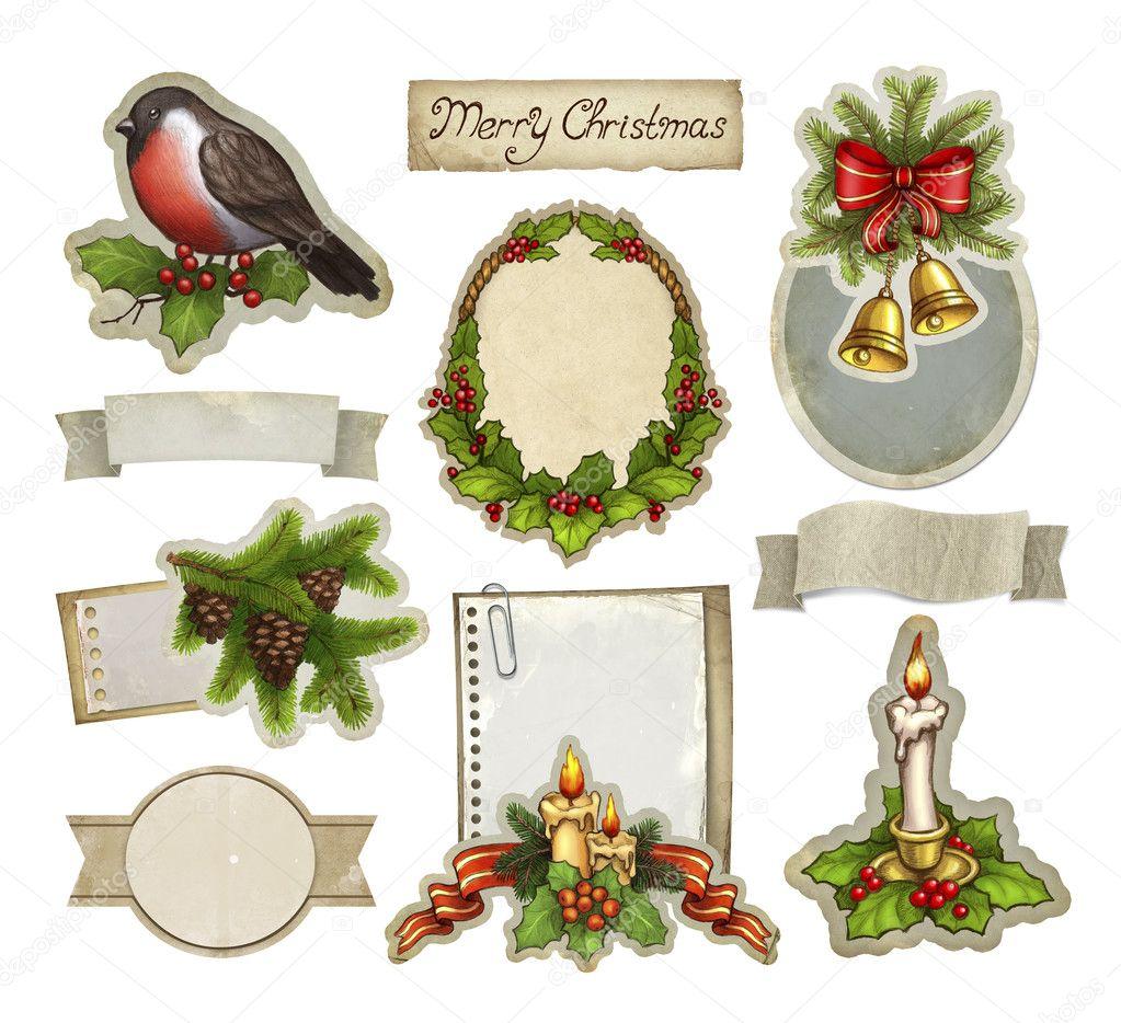 Elementos decorativos de navidad vintage foto de stock - Decorativos de navidad ...