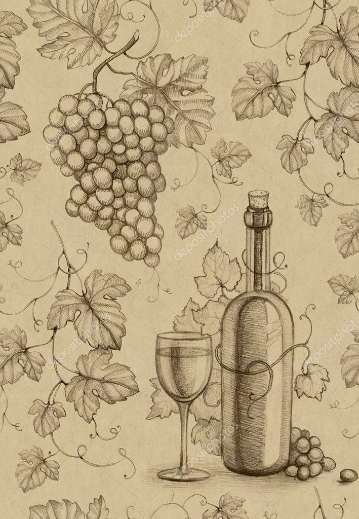 Seamless Pattern With Pencil Drawing Of Wine Bottle And Grape Stock Photo