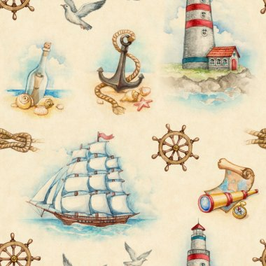 Nautical watercolor seamless pattern