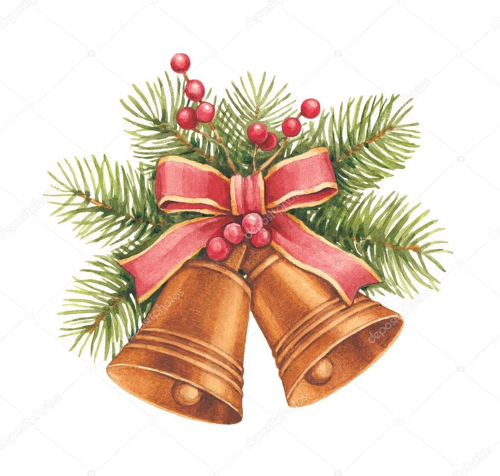 Dibujo acuarela de navidad campanas y pino y decoraci n - Dibujos de decoracion ...