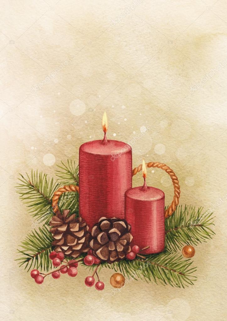 cartolina di natale vintage candela ad acquerello e pino. Black Bedroom Furniture Sets. Home Design Ideas