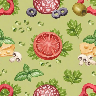 Seamless pattern with watercolor illustration of food ingredient