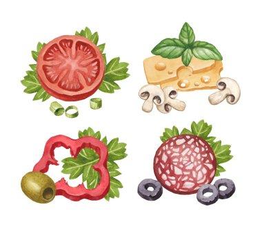 Watercolor illustration of food ingredients