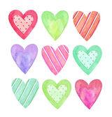 kolekce akvarel srdce pro Valentýna