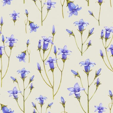 Bluebell flower illustration. Watercolor seamless pattern stock vector