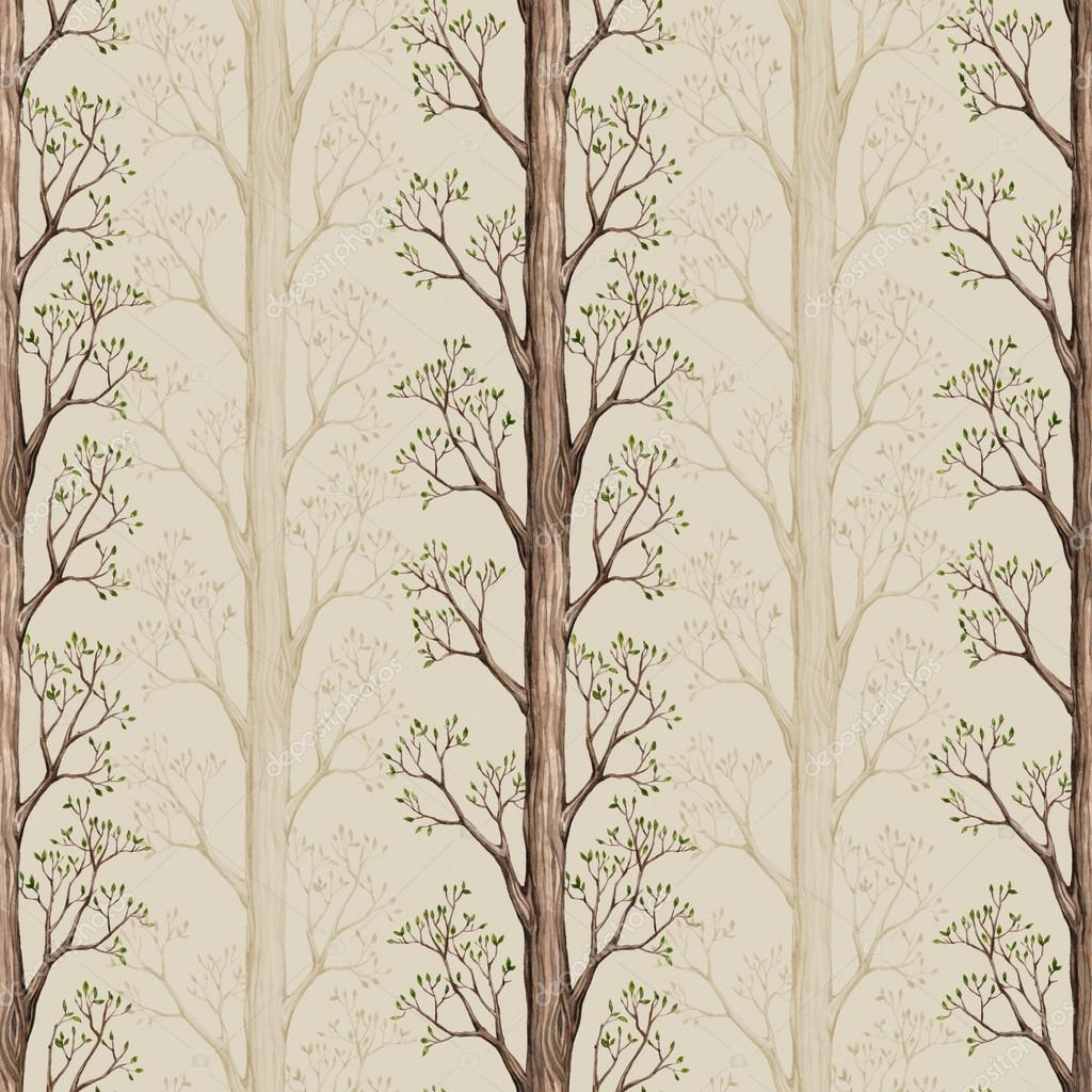 Seamless pattern with a watercolor tree illustration