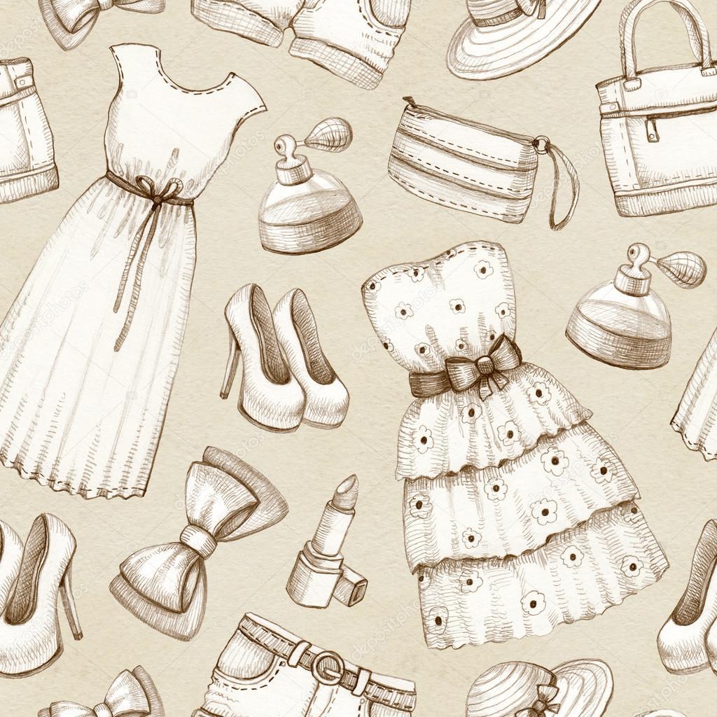 vestidos y complementos dibujos a lápiz. patrón sin costuras — Fotos ...