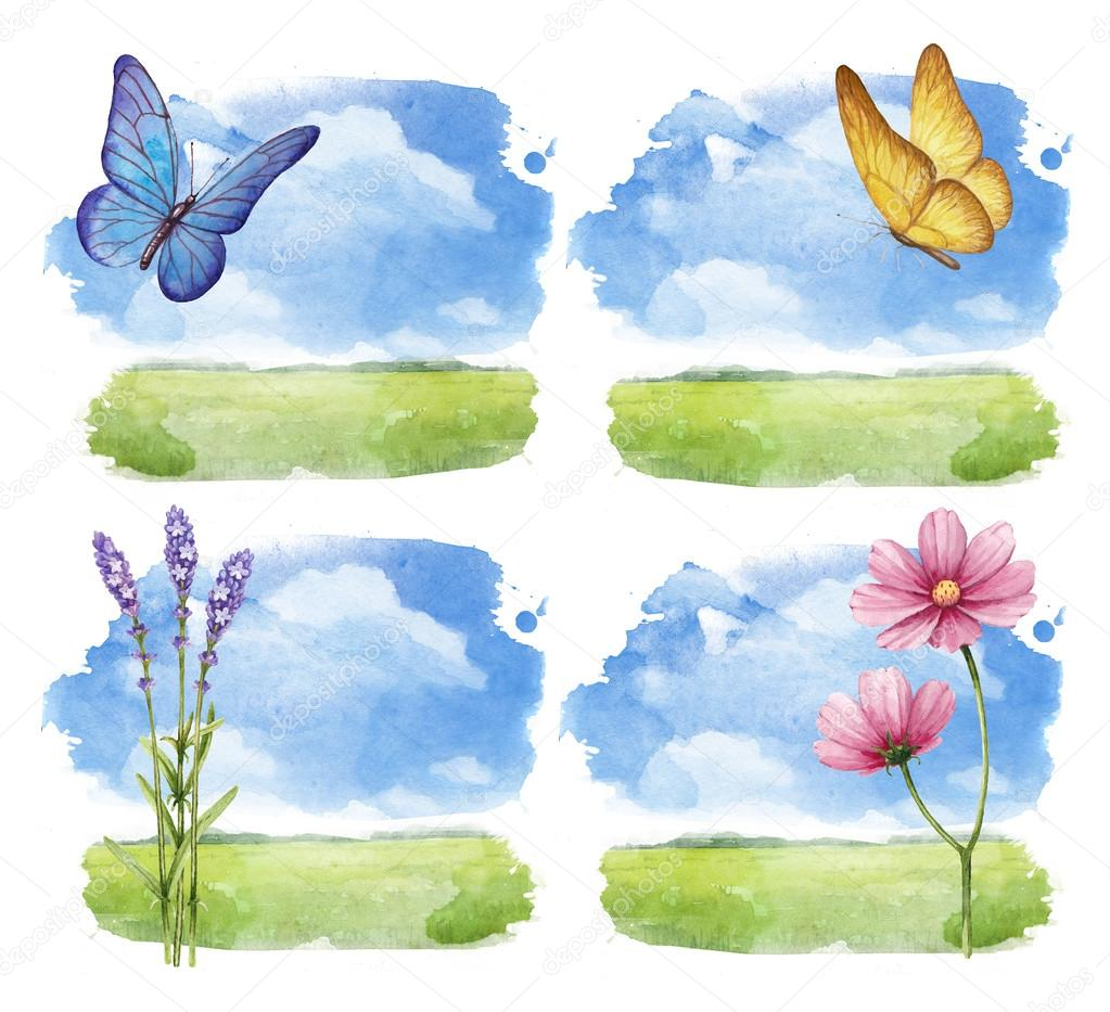 Watercolor illustrations set of a summer landscape