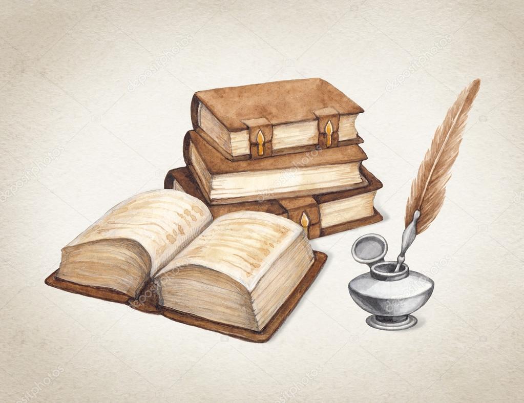 Watercolor vintage books illustration — Stock Photo © Sashsmir #41335031