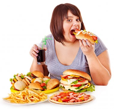 Overweight woman eating fast food. stock vector