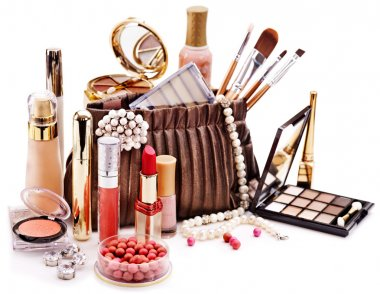 Decorative cosmetics for makeup. Close up. stock vector