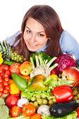 Fényképek Csoport, a gyümölcs és zöldség nő