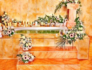 Home bathroom interior with bubble bath. stock vector