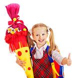 Fotografie Kind mit Schule Kegel