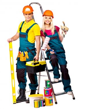 Two builders with construction tools. Isolated. stock vector