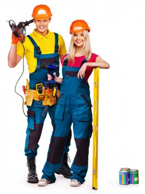 Group of people builder with tools