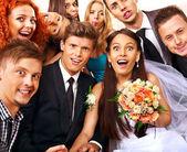 Fotografie Bride and groom in photobooth.