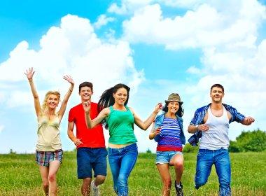 Happy group people summer outdoor. stock vector