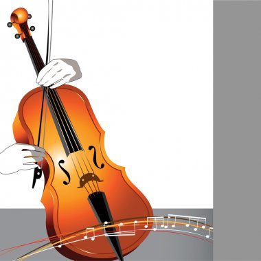 Abstract cello and musician