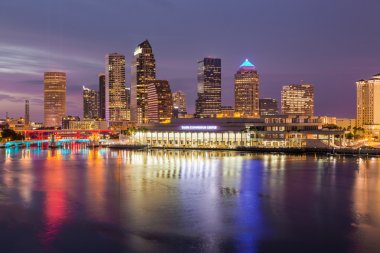 City skyline of Tampa Florida at sunset