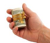 role dolarů v ruce.
