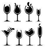 silueta sklenice na víno s logem