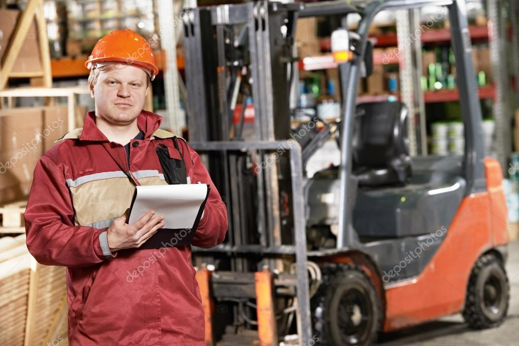 Warehouse worker in front of forklift stock photo kalinovsky warehouse worker in front of forklift stock photo 23444564 sciox Choice Image