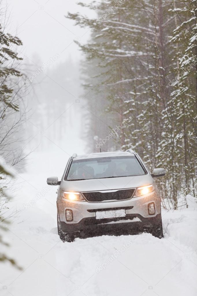 Car on snowy road