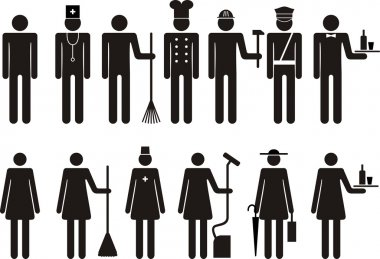 Set of icons of figure people job occupation