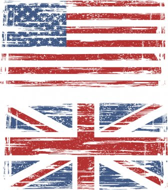 British and American grunge flags. Vector
