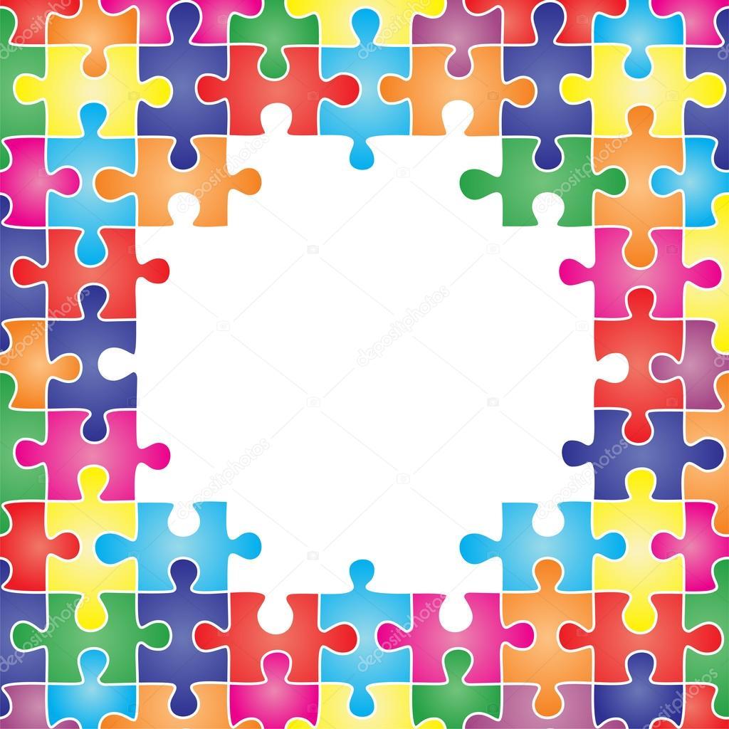 marco de color compuesta por piezas de puzzle. Vector — Vector de ...
