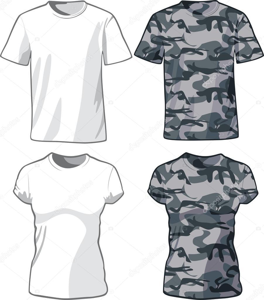 plantilla de camisas blancas y militar. Vector — Archivo Imágenes ...