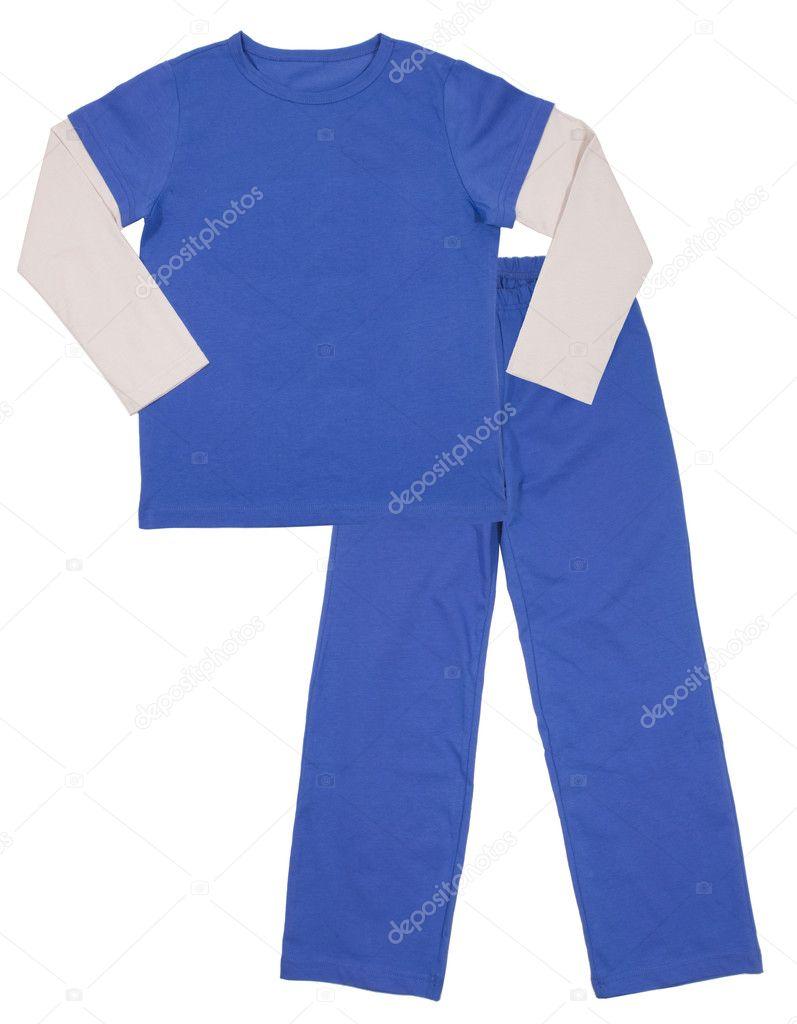 04f273102c pijama azul para niños. aislado en blanco — Fotos de Stock © khvost ...