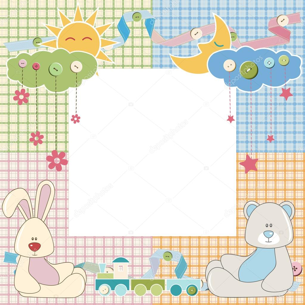 bebé marco o tarjeta con conejo y oso. Vector — Archivo Imágenes ...