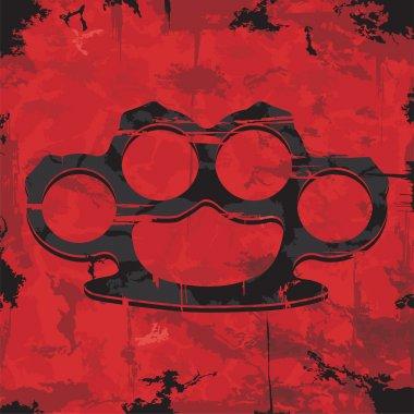 Brass knuckles design. Apparel print. Vector