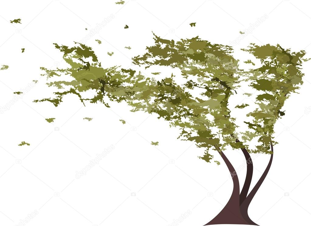 Grunge tree in the wind. Vector