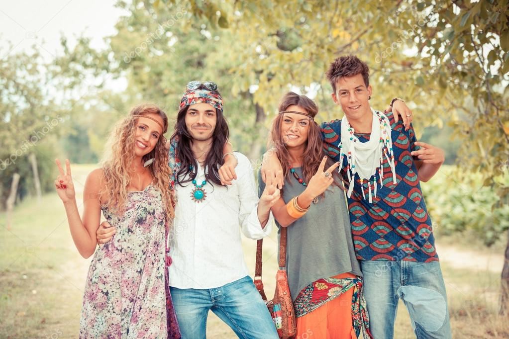 Hippie Group Outside