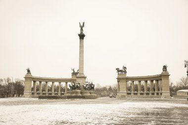 Heroes Square in Budapest with Snow stock vector